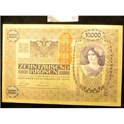 November 2nd, 1918 Austria Ten Thousand Kronen Banknote, near Crisp Unc. 'Doc' Valued this note at $