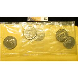 "Group of (5) Gem BU 1968 ""Voyageur"" Dollar Coins in original Royal Canadian Mint cellophane and hold"