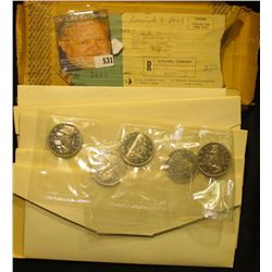 Original packing box from the Royal Canadian Mint which was sent to the family of John Morrell conta