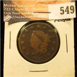 1831 U.S. Large Cent, G+. Rotated Reverse.