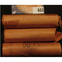 1920P, 1960P, & 61D Solid Date Rolls of Lincoln Cents in paper wrappers.