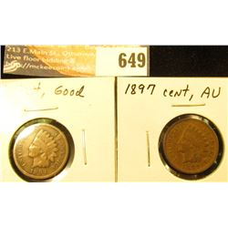 1894, G and 1897, AU Indian Head Cents.