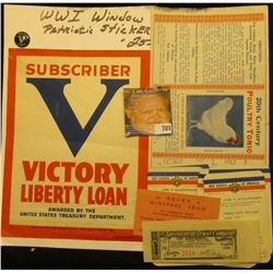 "World War I Patriotic Window Sticker ""Subscriber V Victory Liberty Loan Awarded by the United States"
