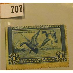 1934 RW1 U.S. Federal Migratory Waterfowl $1 Stamp, unused, unsigned, fair condition.
