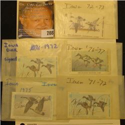 (5) different 1970s era Iowa Migratory Waterfowl Stamps, all signed and used.