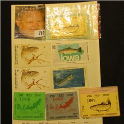 "(8) 1970s era ""Iowa Trout Stamps"", some cut from hunting licenses."