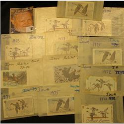 (12) 1970s & 80s Iowa Migratory Waterfowl & Habitat Stamps. All signed and used.