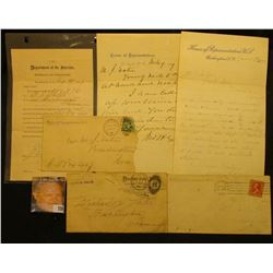 "August 1889 letter on stationery ""Department of the Interior Bureau of Pensions, Washington, D.C."";"
