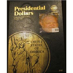 Whitman U.S. Presidential Dollar Book with (6) Dollar coins present.