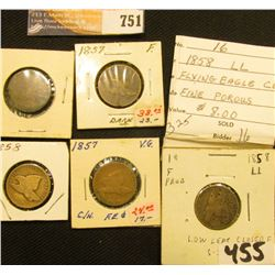 (5) 1857-58 U.S. Flying Eagle Cents with grades up to Fine.