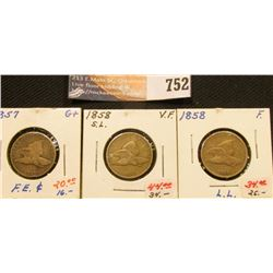 (3) 1857-58 U.S. Flying Eagle Cents with grades up to Very Fine.
