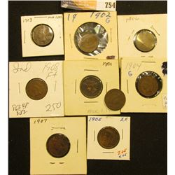 1900-08 (all inclusive) Set of U.S. Indian Head Cents grading up to EF. (9 pcs.).