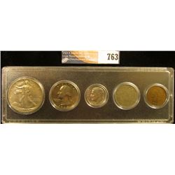 Snaptite case containing 1898 Indian Cent, 1906 Liberty Nickel, 1975S Proof Dime, 1968 S Proof Quart