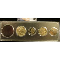Snaptite case containing 1906 Indian Cent, 1935 Buffalo Nickel, 1981S Proof Dime, & 1976 S Silver BU