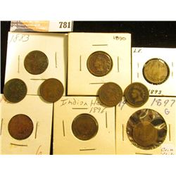 (10) Indian Head Cents, dating 1883-1897, all different dates, various grades.