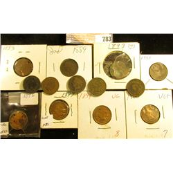 1883 (holed), 87, 89, 90, 91, 92, 93, 95, 96 (holed), 97, 98, 99, & 1900 Indian Head cents. All aver
