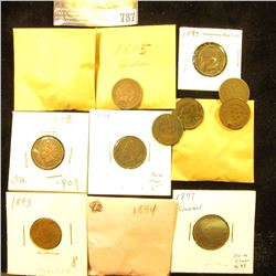 (19) various grade Indian Head Cents dating before 1900, some duplicate dates, all average circulate