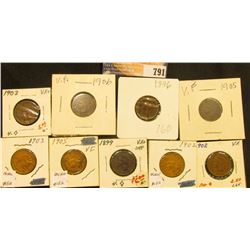 1896, 1899, (2) 1902, (2) 1903, (2) 1905, & 06 Indian Head Cents, all grading VF.