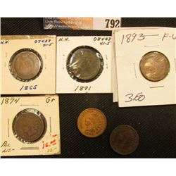 1865 G, 1874 G+, 1891 VF, 1892 Fine, 1893 F-VF, & 1899 Fine Indian Head Cents.