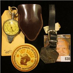 "Map Milage Gauge with leather holster; ""thew Lorain Cranes, Shovels, Drag Lines, Moto-Cranes""  watch"