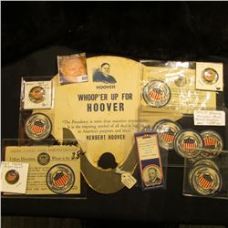 Several pieces of Herbert Hoover Campaign material including a fan.