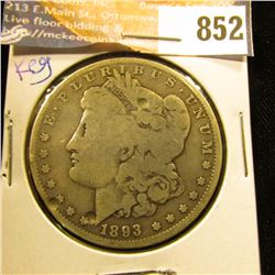 1893 P U.S. Morgan Silver Dollar, VG. Two dimples on the obverse. Key date.