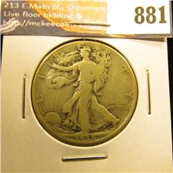 1938 D Walking Liberty Half-Dollar, VG.