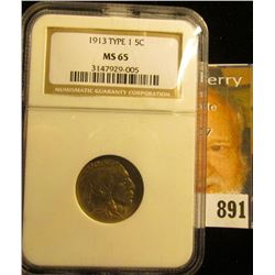 1913 P Type One Buffalo Nickel NGC slabbed MS 65.