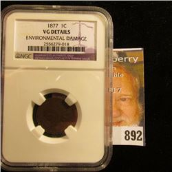 "1877 U.S. Indian Head Cent. ""VG Details Environmental Damage"" NGC slabbed. It seems to me they were"