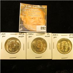 1949 P, D, & S Gem BU Booker T. Washington Commemorative Half-Dollar Three-piece Set.