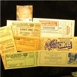 (7) different old Circus Tickets, Ringling Brothers, Barnum & Bailey, Dales Bros. Circus, Wallace &