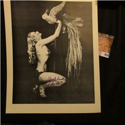 "8 1/2"" x 11"" Semi-nude autographed photo of the Actress Lili St. Cyr, autographed ""good luck Lili st"