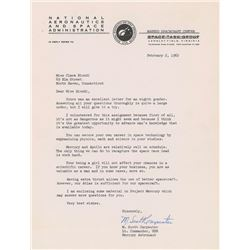 Scott Carpenter 1962 Typed Letter Signed