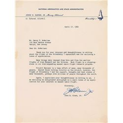 John Glenn 1962 Typed Letter Signed