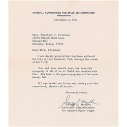 Theodore C. Freeman: Signed Letter of Condolencef from George E. Mueller
