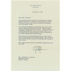 Theodore C. Freeman: Signed Letter of Condolence from Lyndon B. Johnson