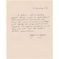 Roger Chaffee 1964 Handwritten Statement Signed