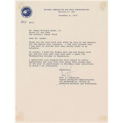 Neil Armstrong 1970 Typed Letter Signed