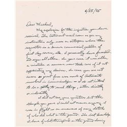 Fred Haise 1975 Autograph Letter Signed