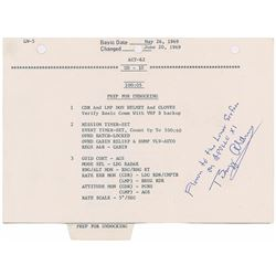 Apollo 11 LM Flown Page With Neil Armstrong Notations