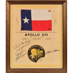 Apollo 13 Flown Texas Flag Signed by Lovell and Swigert