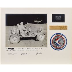 Dave Scott's Apollo 15 Lunar Surface-Flown License Plate Crew-Signed Display