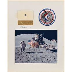 Dave Scott's Apollo 15 Lunar Surface-Flown Snoopy Pin Signed Display