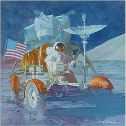 Mark Schuler Original Apollo 15 'First Manned Lunar Vehicle' Painting