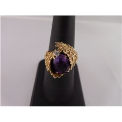 sz7.5 - 14kt Gold Ring with Amethyst Stone -- Appraisal Included
