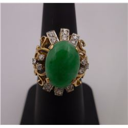 Sz 6.25 - 14kt Gold Ring with Jade Stone