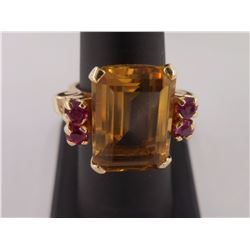 sz 7.5 - 14KT Gold Ring with Large Citrine -- Appraisal Included