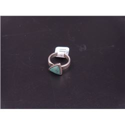 sz 6 Triangle Silver Turquoise Ring