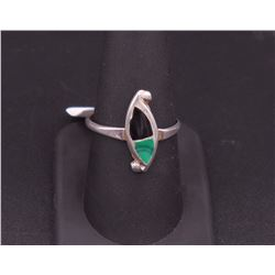 sz 9.25 Silver Ring with Malachite and Onyx