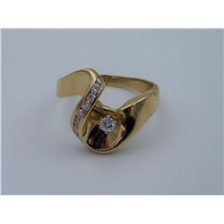 Sz 7.5 - 14kt Gold and Diamond Ring